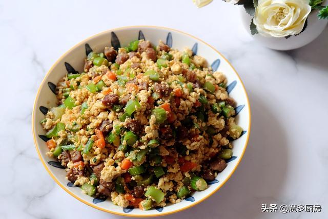 炒米饭的做法,减脂食谱分享,不用米也能做炒饭,营养丰富健康美味,好吃