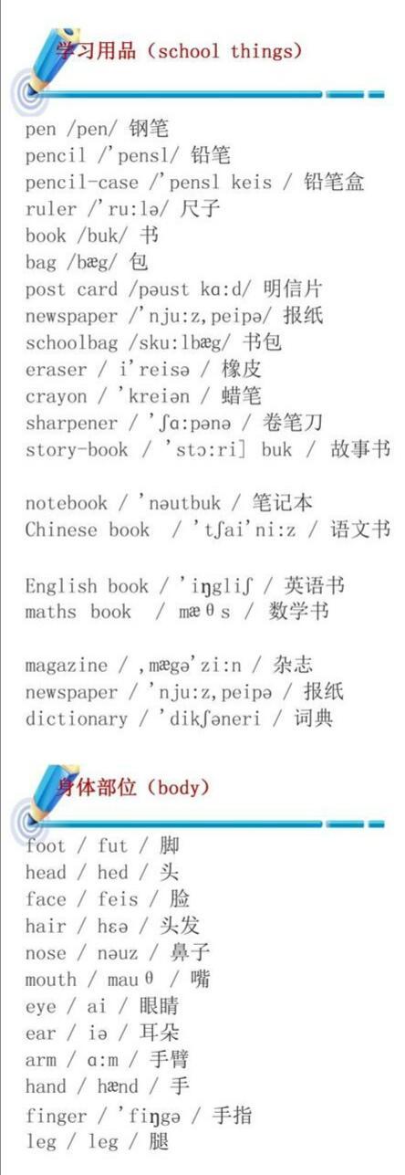 小学英语单词分类大全〈带音标〉!