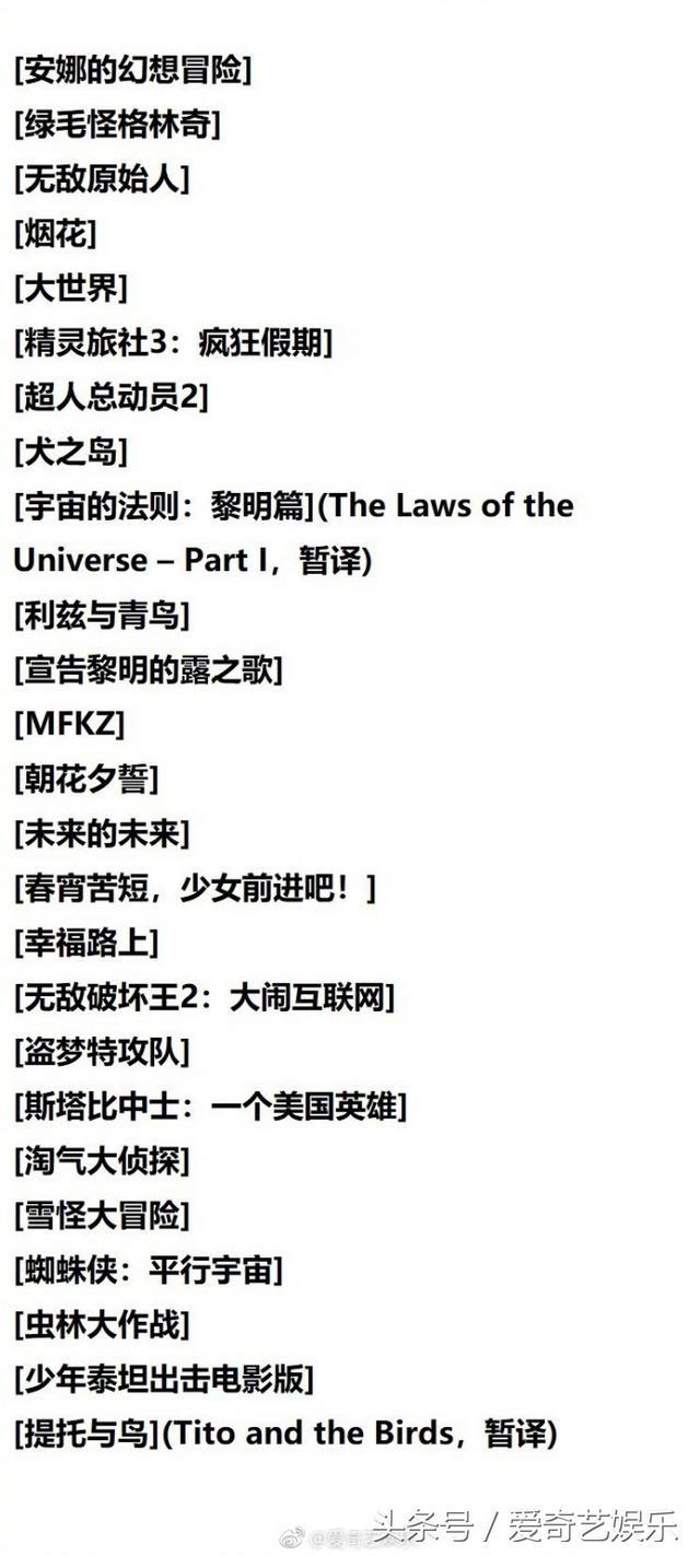 动画片大全爱奇艺,奥斯卡最佳动画长片角逐名单公布 两部华语影片入选