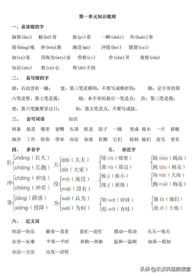 小学二年级上学期 上册语文知识点汇总 期末考试复习资料总结