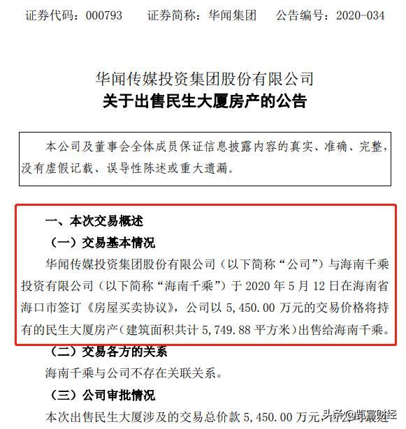 华闻传媒投资集团股份有限公司,华闻集团:在变卖北京30套房产后的又一次资产出售