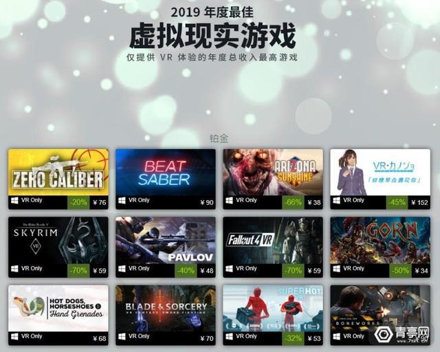VR排名,这就是2019年最火的VR游戏,官方公布排行榜