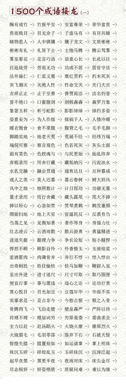成语接龙大全,1500个成语接龙——一起体会中国语言文化的博大精深吧!