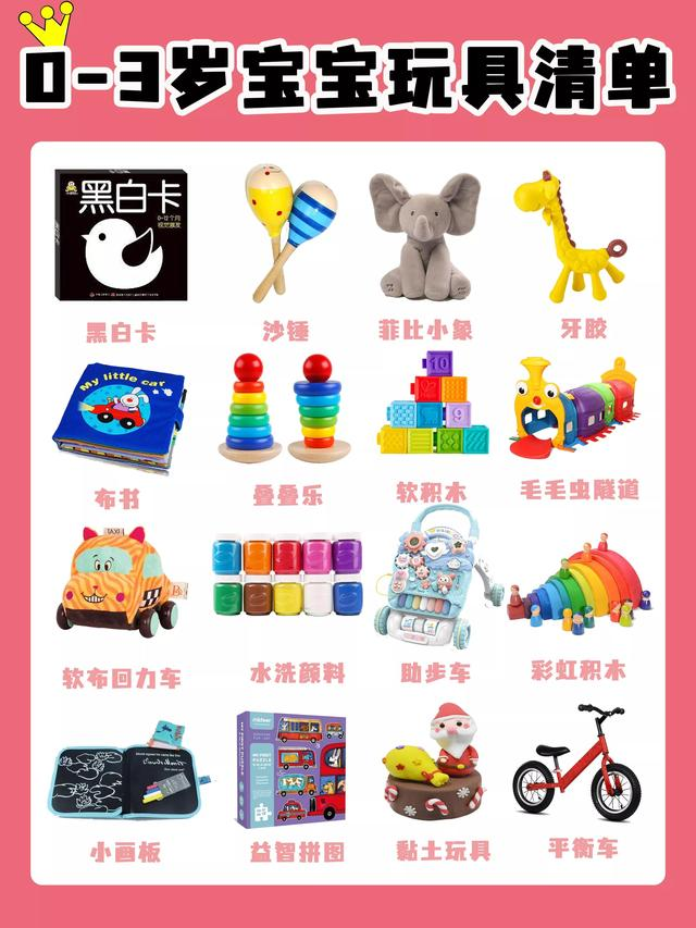 婴儿玩具,0-3岁宝宝玩具清单!保姆级整理