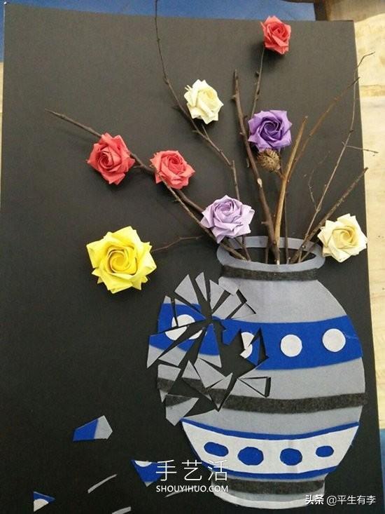 怎么做贴贴,「手工教程」被打破的花瓶纸贴画制作图片简单