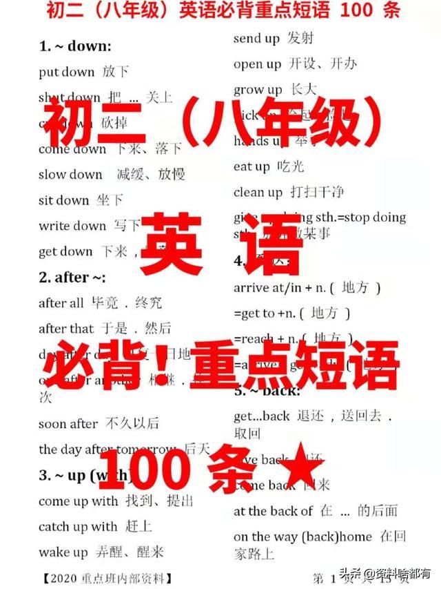 初二(八年级)英语,必背重点短语100条