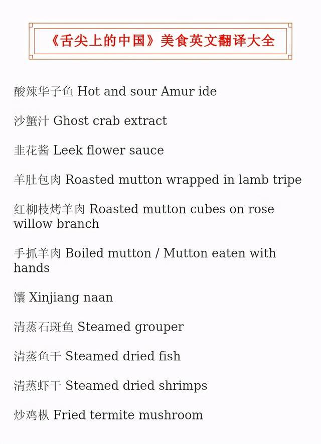 美食英语怎么说,吉米老师:《舌尖上的中国》,美食英文翻译大全