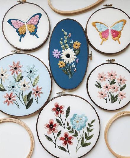 刺绣图片,60副精美的花草刺绣,带针法,一针一线记录这个春天!收藏