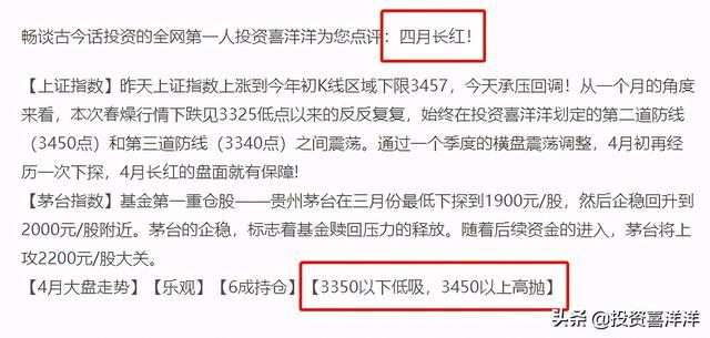 喜讯!昨日项目投资喜羊羊,诺安蔡经理四连阳!四月大盘怎么走?