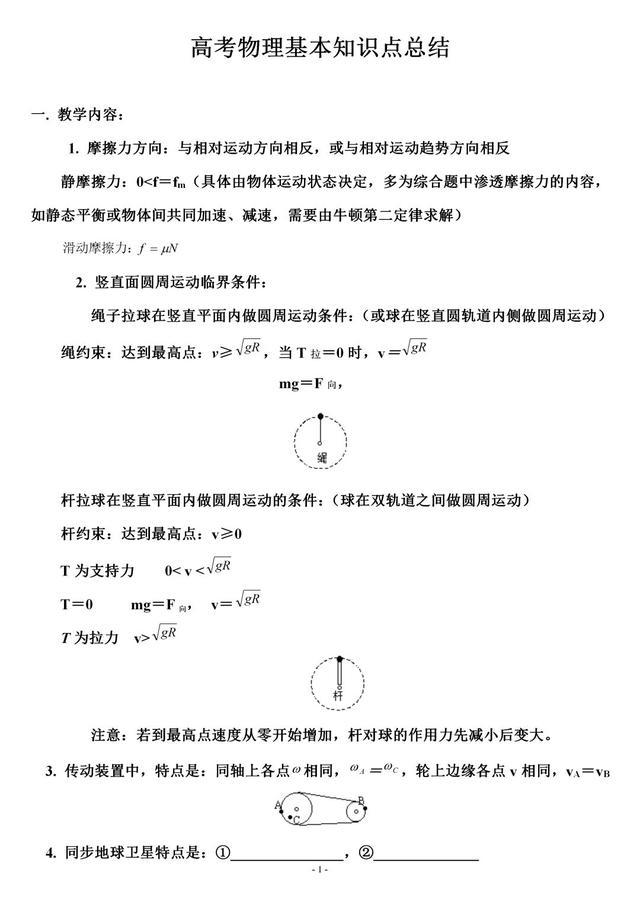 高中物理,常考的物理解题模型和基本知识点总结(可打印)