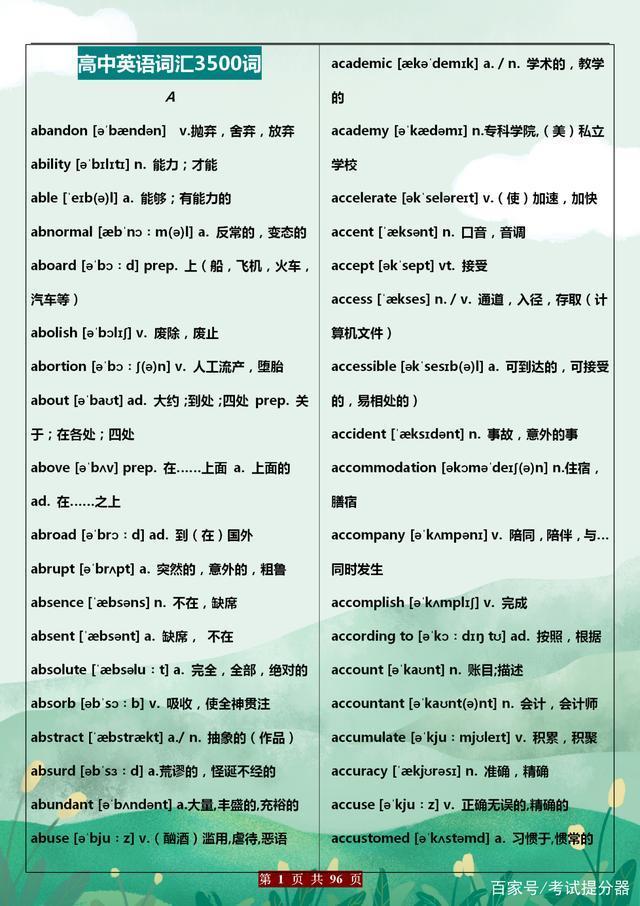 英语老师总结:高中阶段(3500个)重点词汇,替孩子打印一份