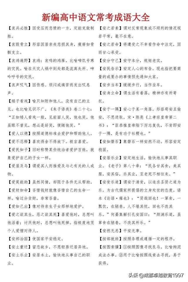 高中语文常考成语大全(一)