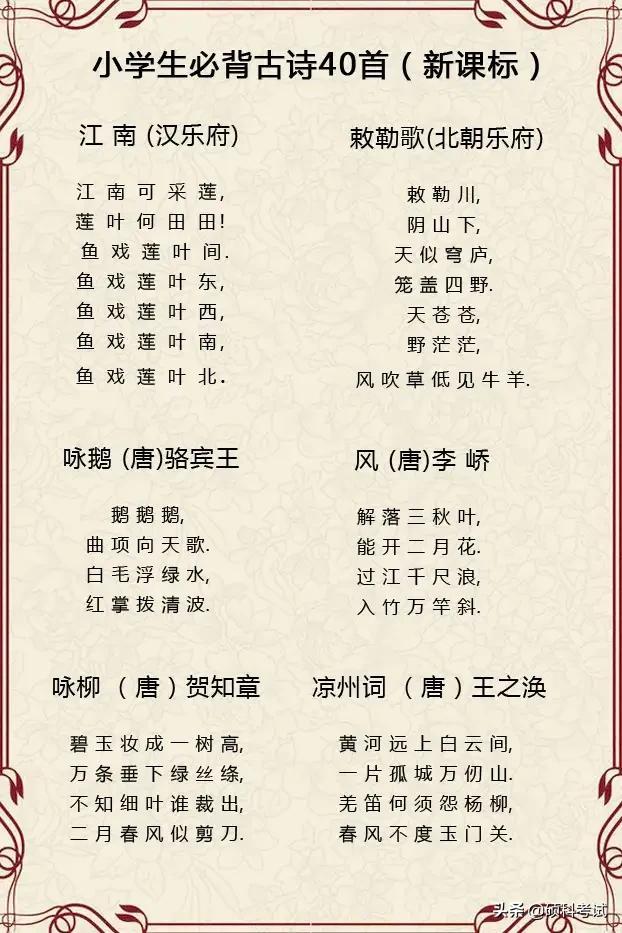 小学语文必背110首古诗词,考试经常考,你家孩子都会了吗?