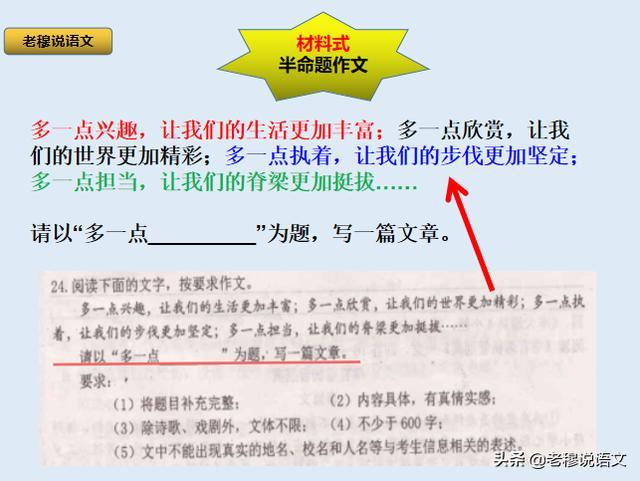 长短句结合,天津东丽中考模考作文《多一点__》,怎么写?半命题作文该这么解