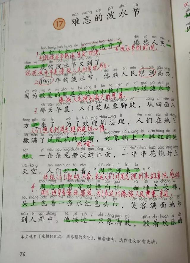 傣族的传统节日,二年级语文上册第十七课《难忘的泼水节》课文笔记,预习专用