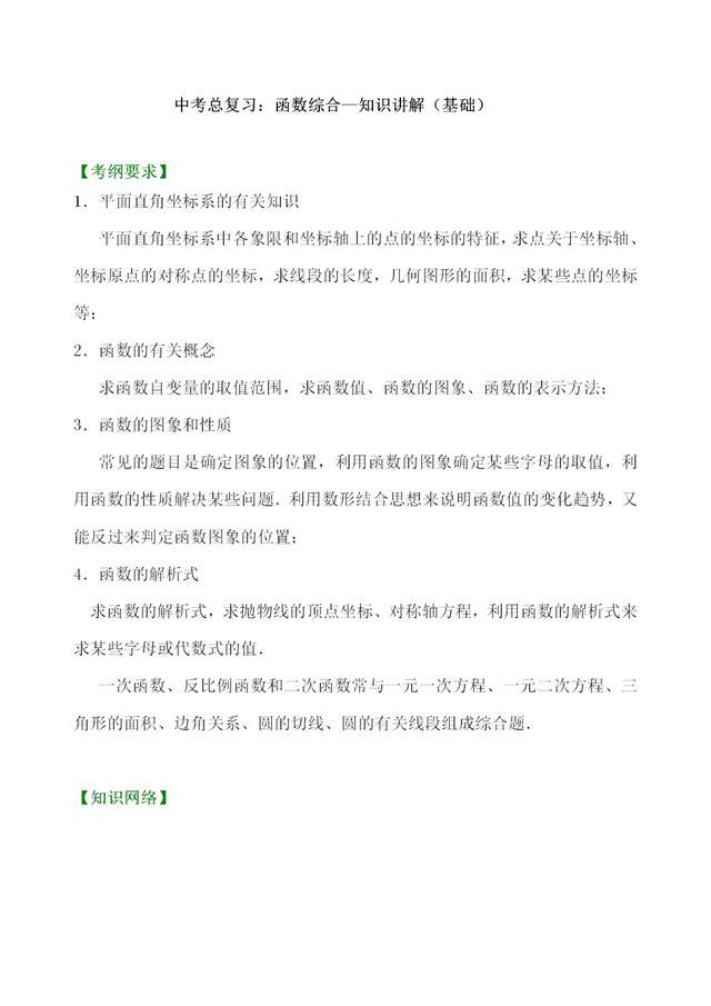 中考数沪教版六三制初中数学目录学总复习——函数综合知识点讲解