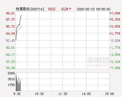 牧原股份股票,牧原股份大幅拉升5.33% 股价创近2个月新高