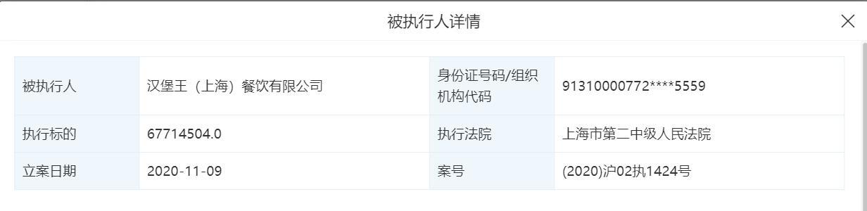 汉堡加盟,汉堡王上海公司成被执行人,315晚会曾曝加盟商用过期原料