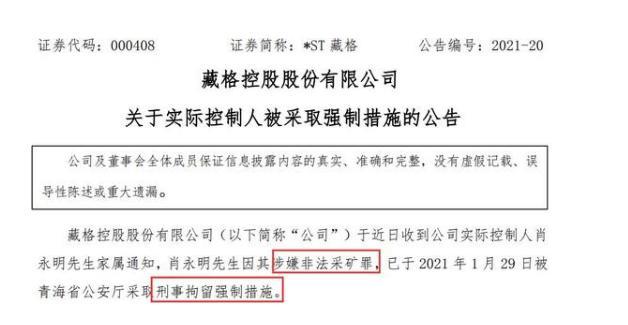 *ST藏格因涉嫌非法采矿罪被刑拘强制执行措施
