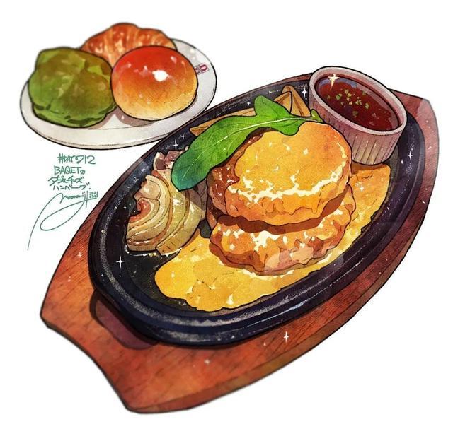 美食的画,边吃边画出来的美食插画