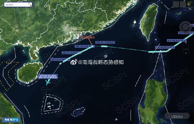 南海战略态势感知:美空军RC-135W正沿广东和海南岛海岸进行抵近侦察