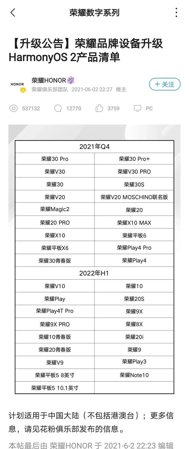 「荣耀」鸿蒙新老设备升级时间一览 无V40/V6平板 Play亮了 全球新闻风头榜 第2张