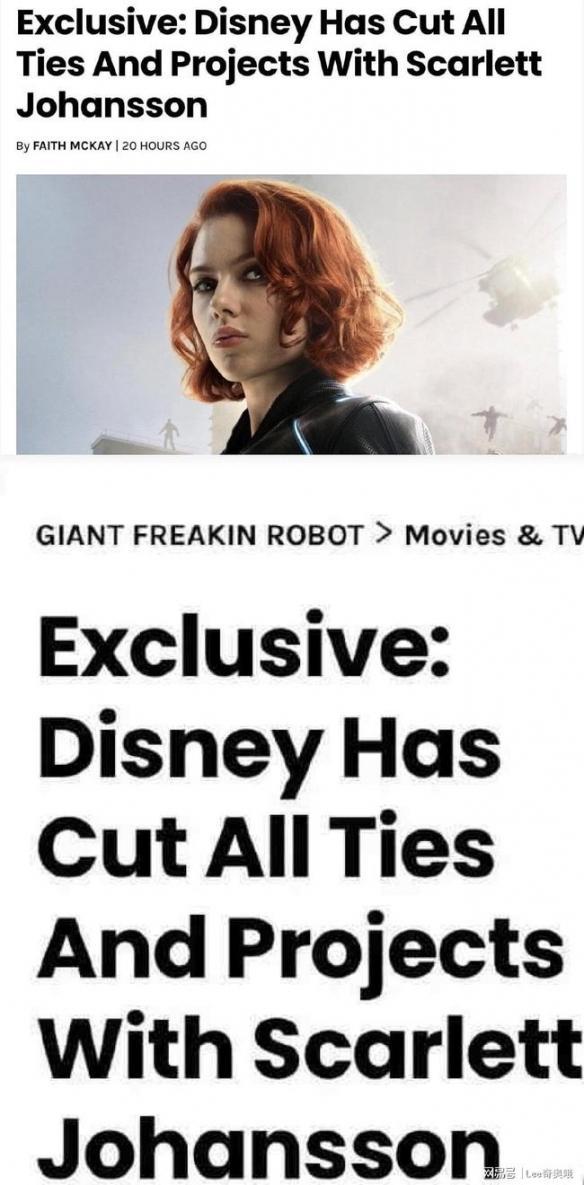 迪士尼公司宣布不再和斯嘉丽约翰逊合作 华纳DC会谈寡姐