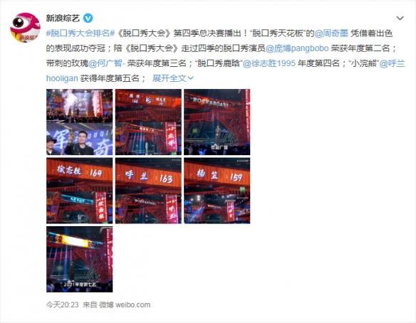 《脱口秀大会4》最终决赛落幕!周奇墨获年度总冠军 全球新闻风头榜 第1张