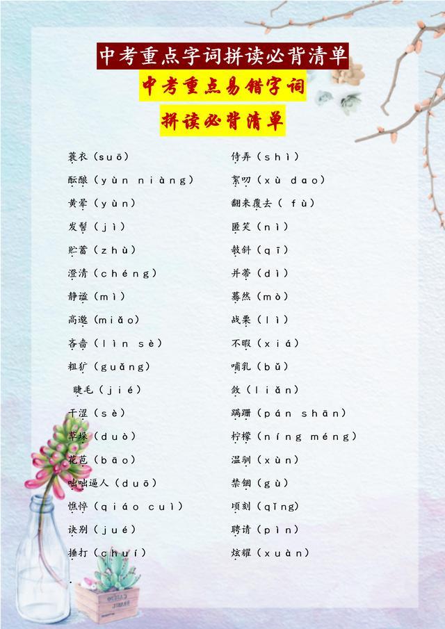初中语文7-9年级639个重点易错字词拼读,每次考试就是这些内容