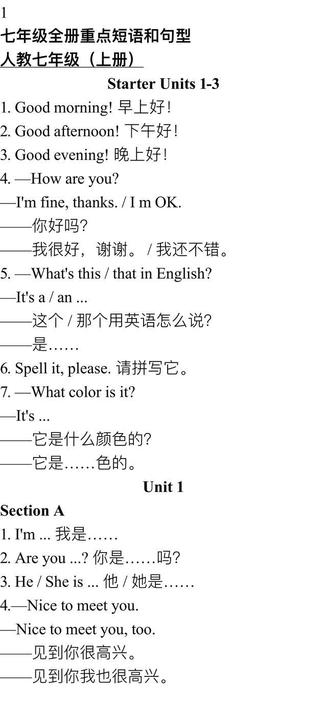 奇速英语:初中英语7-9年级(上/下册)重点短语和总结!