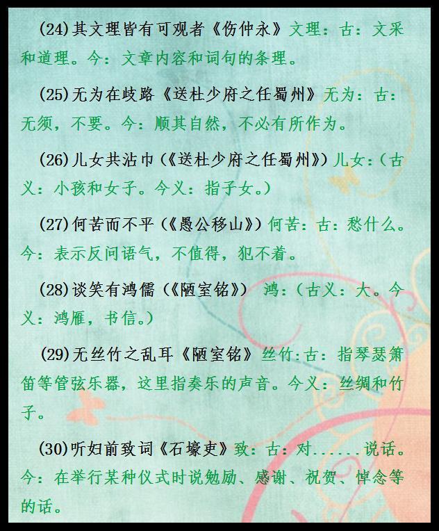 初中语文6本书文言文大汇总!给孩子贴墙上背熟,考试次次不下130