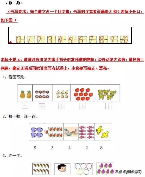 小学数学一年级上册:考点复习提纲【给孩子收藏!】