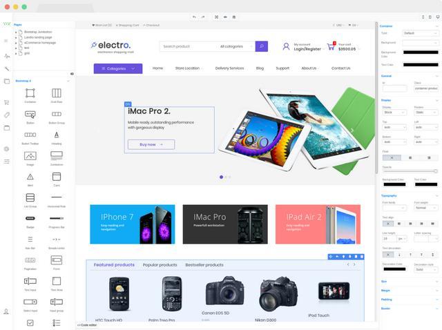 网页设计模板,网页设计,使用拖拽的方式生成网页!JavaScript库——VvvebJs