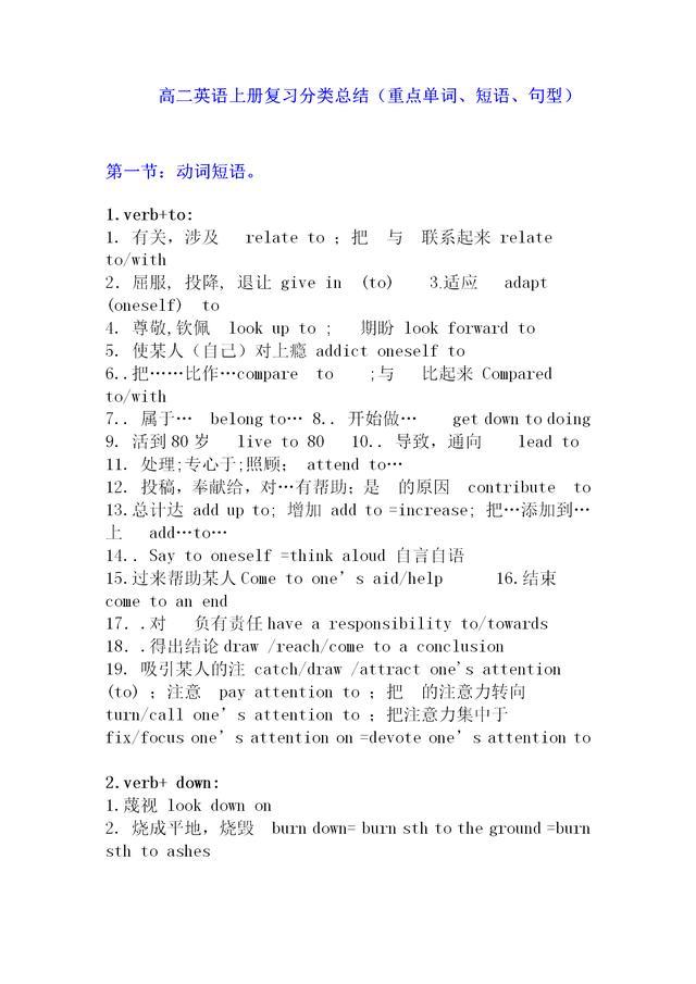 最新人教新课标高二英语上册复习分类总结重点单词、短语、句型