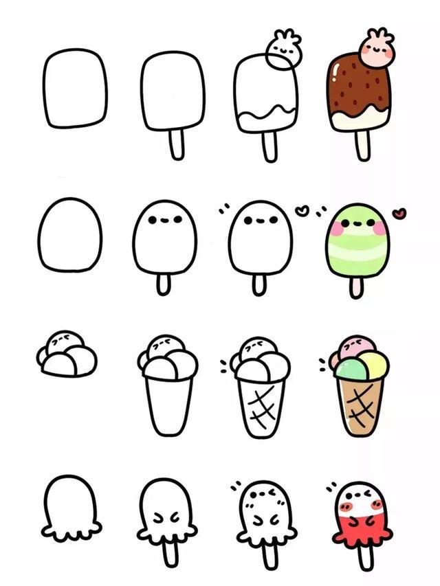 美食简笔画,各种美食的38种简笔画法,超级实用的素材!(转发收藏)