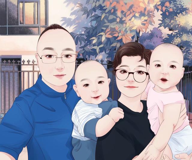 q版动漫人物,一张张全家福Q版真人漫画头像,爸爸妈妈姐弟 哥哥妹妹