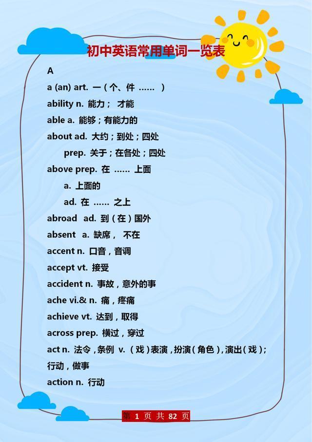 英语班主任:初中英语常用单词一览表,给孩子打印,暑假早晚记