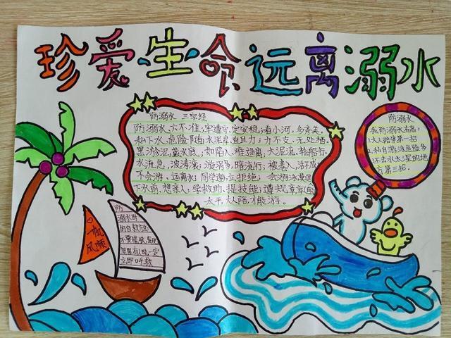 防溺水手抄报大全图片,小学四年级学生画的防溺水安全教育的手抄报,为什么差别如此大?