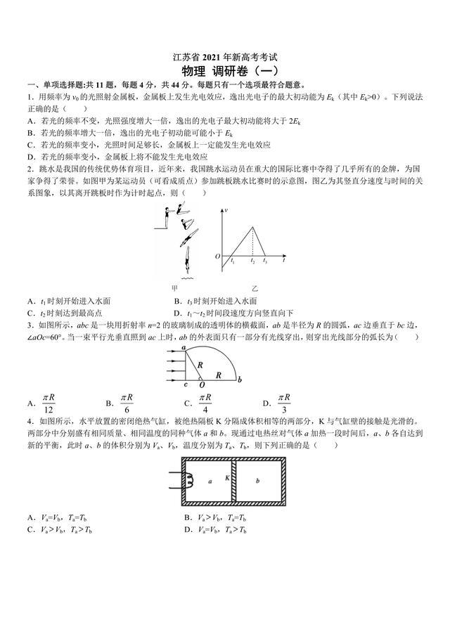 2021年新高考物理综合测试调研+押题卷(江苏专用)