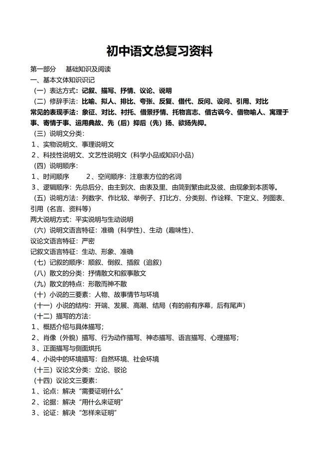 初中语文总复习基础资料