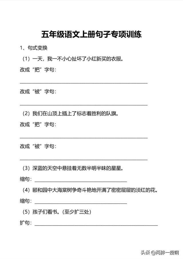 五的句子,五年级上册语文句子专项练习(附答案)