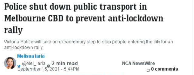 反封锁人士计划再抗议 维州宣布将关闭前往墨尔本CBD公共交通