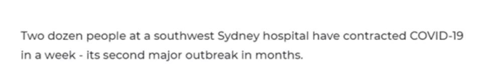 悉尼医院再次爆发疫情,6个科室病房20多名医护及患者感染