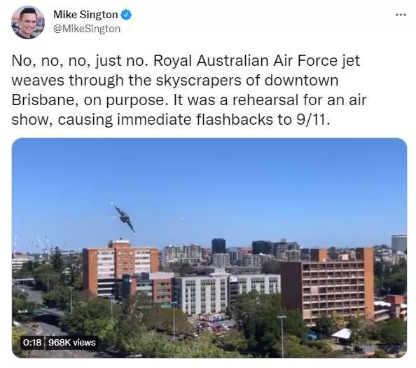 9·11在布里斯班重演?!军机低空飞行,擦着建筑大楼飞过