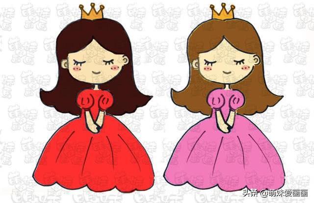 公主怎么画最好看:学画漂亮又简单的小公主简笔画,可以涂上不同的颜色哦!