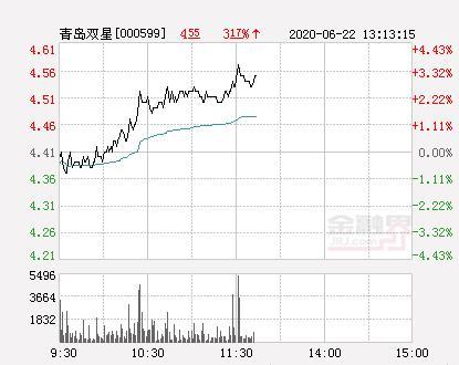 青岛双星大幅拉升3.63% 股价创近2个月新高
