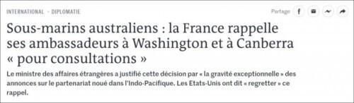 600亿军售大单被毁!法国:澳大利亚和我谁重要?美国:还是钱重要……