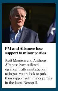 澳洲最新民调:莫里森和阿尔巴尼斯支持率全部下降 联盟党优势全无
