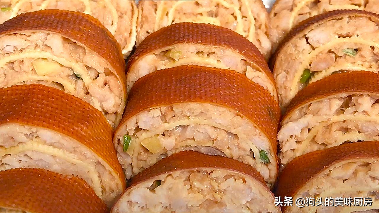 肉馅别包饺子了,试试这样卷一卷,层层都有肉,上桌就是硬菜