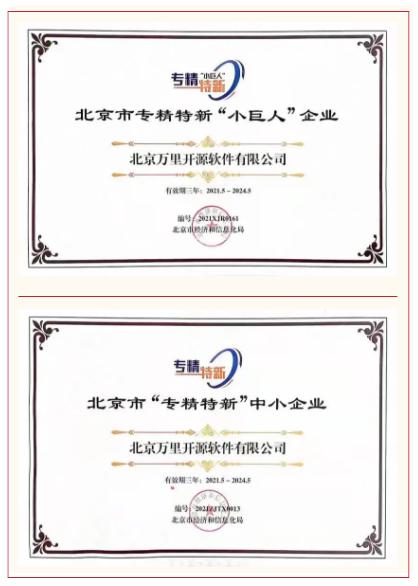 """万里数据库荣获2021首批北京市""""专精特新小巨人""""等系列殊荣"""
